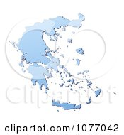 Gradient Blue Greece Mercator Projection Map