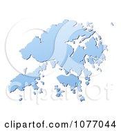 Clipart Gradient Blue Hong Kong Mercator Projection Map Royalty Free CGI Illustration