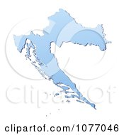 Gradient Blue Croatia Mercator Projection Map by Jiri Moucka