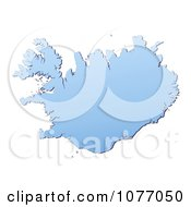 Clipart Gradient Blue Iceland Mercator Projection Map Royalty Free CGI Illustration