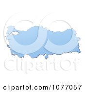 Clipart Gradient Blue Turkey Mercator Projection Map Royalty Free CGI Illustration