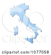 Gradient Blue Italy Mercator Projection Map