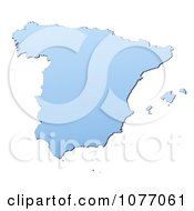 Gradient Blue Spain Mercator Projection Map
