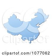 Clipart Gradient Blue China Mercator Projection Map Royalty Free CGI Illustration
