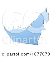Clipart Gradient Blue United Arab Emirates Mercator Projection Map Royalty Free CGI Illustration