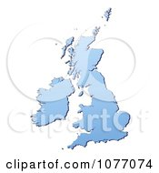 Clipart Gradient Blue Great Britian Mercator Projection Map Royalty Free CGI Illustration