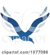 Clipart Blue Bird Letter V Logo Royalty Free Vector Illustration by cidepix #COLLC1077086-0145