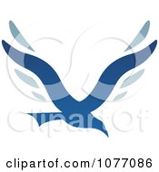 Clipart Blue Bird Letter V Logo Royalty Free Vector Illustration