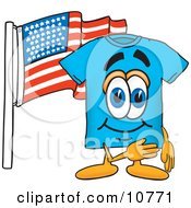 Clipart Picture Of A Blue Short Sleeved T Shirt Mascot Cartoon Character Pledging Allegiance To An American Flag by Toons4Biz