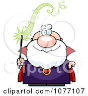 Bald Wizard Holding A Magic Wand