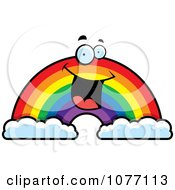 Clipart Happy Rainbow With Two Clouds Royalty Free Vector Illustration