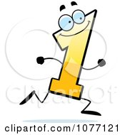 Clipart Running Yellow Number One Royalty Free Vector Illustration