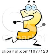 Clipart Running Yellow Number Three Royalty Free Vector Illustration
