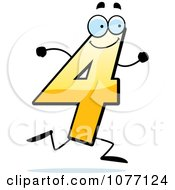 Clipart Running Yellow Number Four Royalty Free Vector Illustration