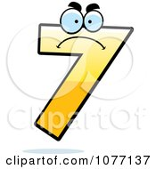 Clipart Mad Yellow Number Seven Royalty Free Vector Illustration by Cory Thoman