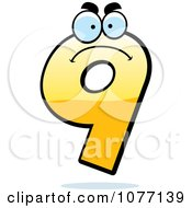 Clipart Mad Yellow Number Nine Royalty Free Vector Illustration