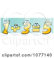 Clipart Yellow One And Three Adding Up And Showing The Incorrect Answer Of Five Royalty Free Vector Illustration