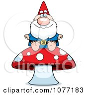 Clipart Gnome Sitting On A Mushroom Royalty Free Vector Illustration by Cory Thoman