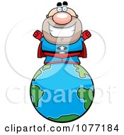 Clipart Bald Super Hero On The Earth Royalty Free Vector Illustration