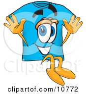 Clipart Picture Of A Blue Short Sleeved T Shirt Mascot Cartoon Character Jumping by Toons4Biz