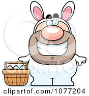 Clipart Happy Man In An Easter Bunny Costume Royalty Free Vector Illustration by Cory Thoman