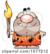 Clipart Caveman Holding A Torch Royalty Free Vector Illustration