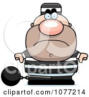 Clipart Mad Prisoner With A Ball And Chain Royalty Free Vector Illustration