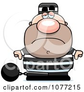 Clipart Sad Prisoner With A Ball And Chain Royalty Free Vector Illustration