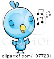 Clipart Cute Baby Blue Jay Whistling Royalty Free Vector Illustration by Cory Thoman
