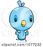 Clipart Cute Baby Blue Jay Running Royalty Free Vector Illustration