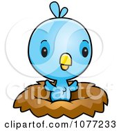 Clipart Cute Baby Blue Jay Chick In A Nest Royalty Free Vector Illustration