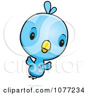 Clipart Cute Baby Blue Jay Flying Royalty Free Vector Illustration