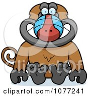 Clipart Sitting Baboon Monkey Royalty Free Vector Illustration by Cory Thoman