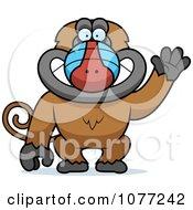 Clipart Friendly Baboon Monkey Waving Royalty Free Vector Illustration by Cory Thoman