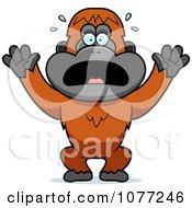 Clipart Panicking Orangutan Monkey Royalty Free Vector Illustration