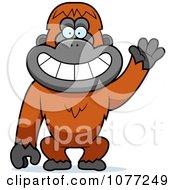 Friendly Waving Orangutan Monkey