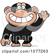 Clipart Friendly Waving Chimp Monkey Royalty Free Vector Illustration