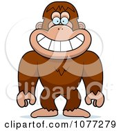 Clipart Smiling Bigfoot Sasquatch Royalty Free Vector Illustration