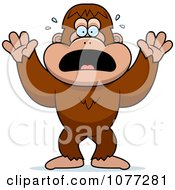 Clipart Frightened Bigfoot Sasquatch Royalty Free Vector Illustration