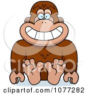 Clipart Sitting Bigfoot Sasquatch Royalty Free Vector Illustration