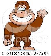 Clipart Friendly Waving Bigfoot Sasquatch Royalty Free Vector Illustration