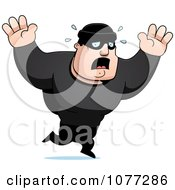 Clipart Frightened Male Robber In Black Royalty Free Vector Illustration
