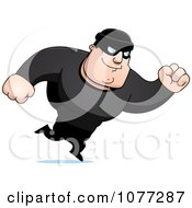 Clipart Running Male Robber In Black Royalty Free Vector Illustration