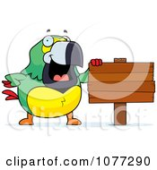 Clipart Parrot Standing By A Blank Wooden Sign Post Royalty Free Vector Illustration by Cory Thoman