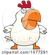 Clipart Mad White Rooster Royalty Free Vector Illustration