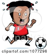 Clipart Black Soccer Girl Running After A Ball Royalty Free Vector Illustration