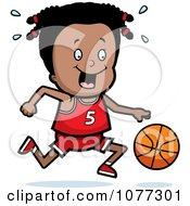 Clipart Black Basketball Girl Dribbling A Ball Royalty Free Vector Illustration