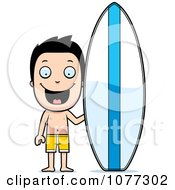 Clipart Happy Summer Boy By A Surfboard Royalty Free Vector Illustration