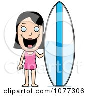 Clipart Summer Woman With A Surfboard Royalty Free Vector Illustration