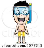 Clipart Happy Summer Boy Wearing Snorkel Gear Royalty Free Vector Illustration